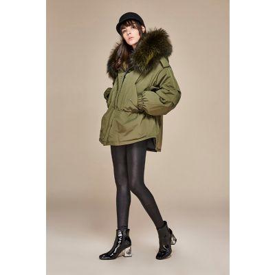 Manteau Pardessus Hiver pour femme avec capuche garnie fourrure épaisse