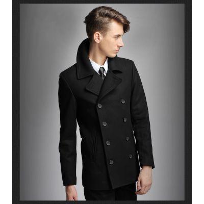 Manteau Pardessus pour Homme en Laine à Double Boutonnage