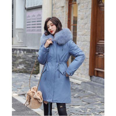 Manteau parka long hiver pour femme avec fourrure intérieure