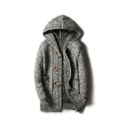 Manteau style cardigan épais à capuche pour homme