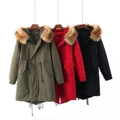 Manteau trench hiver pour femme avec capuche lignée fourrure épaisse