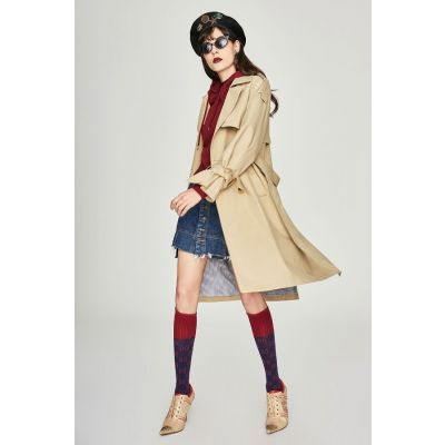 Manteau Trench Imperméable pour femme avec attaches manches en noeud