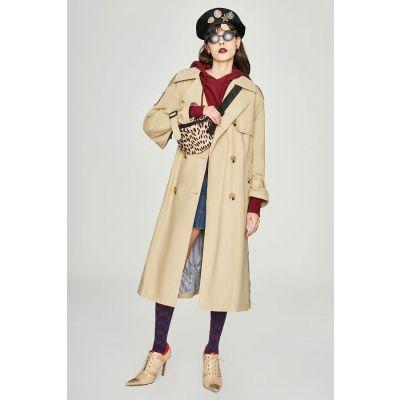 Manteau Trench long à fente côté et manches évasées pour femme