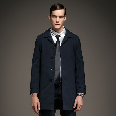 Manteau Trench Mi Long Homme Imperméable Boutonnage Simple