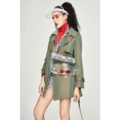 Manteau Trench mi-long pour femme avec double boutonnage