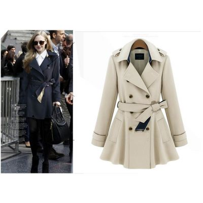 Manteau Trench pour Femme Classique avec Ceinture Lanières Epaules