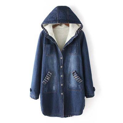 Manteau en jean pour femme interieur polaire
