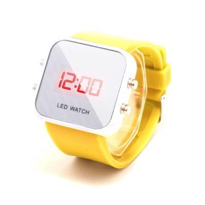 Montre LED carrée avec bracelet silicone - Jaune