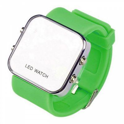 Montre LED mirroir avec bracelet silicone - Vert