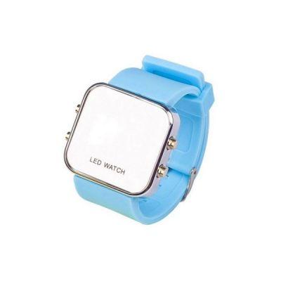 Montre LED mirroir avec bracelet silicone - Bleu ciel