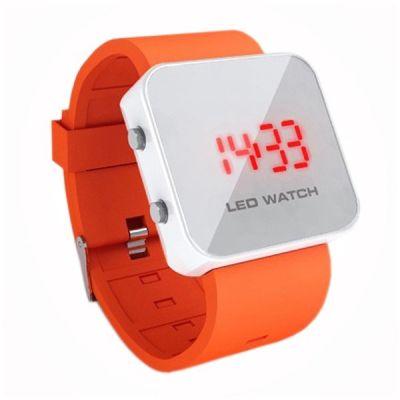 Montre LED mirroir avec bracelet silicone - Orange