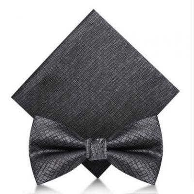 Noeud papillon argenté texturé en satin avec pochette pour costume
