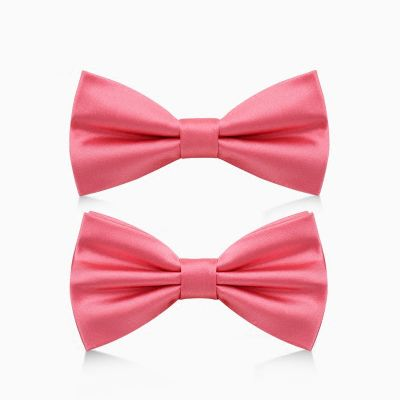 Noeud papillon rose saumon vif pour costume satiné simple ou double