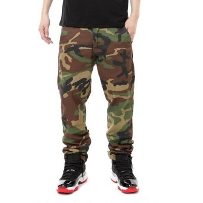Pantalon Camouflage Coton Toile Solide Motif Militaire Coupe Droite