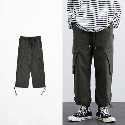 Pantalon cargo en coton baggy avec grandes poches cheville élastique hip hop