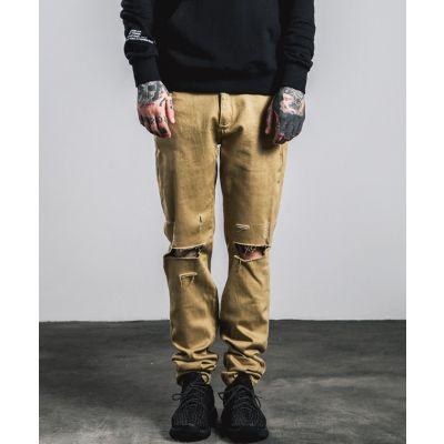 Pantalon Chino distressed pour homme genoux troués