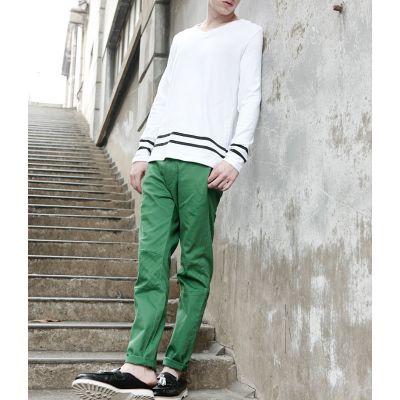 Pantalon Coton pour Homme Coupe Slim avec Genoux Effet Matelassé
