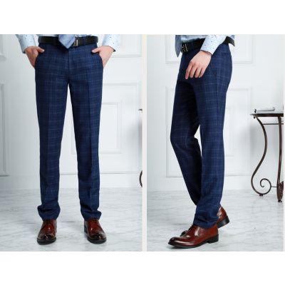 Pantalon de costume à carreaux écossais vintage pour homme