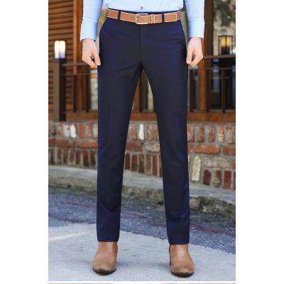 Pantalon de costume slim bleu marine pour homme