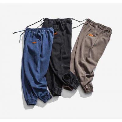 Pantalon de jogging simple en coton pour homme avec cordon et chevilles élastiques