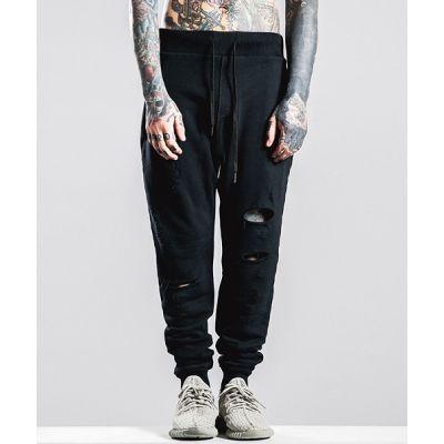 Pantalon de survêt troué distressed jogging homme