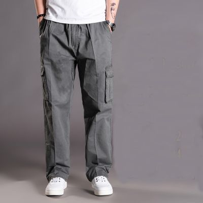 Pantalon en coton ample à poches multiples pour homme