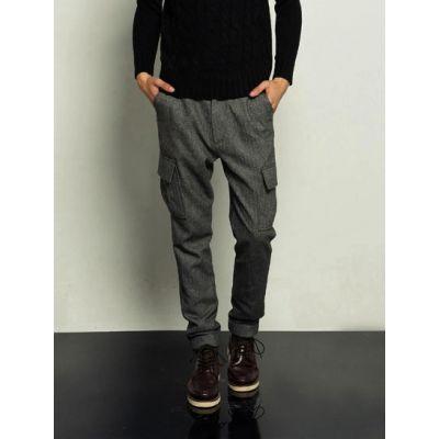 Pantalon en Laine Herringbone pour Homme avec Poches Côté