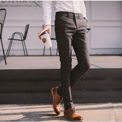 Pantalon Habillé Skinny en laine pour homme avec motif à carreaux hiver