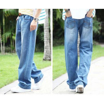 Pantalon Jeans Baggy Homme Bleu Classique Mode Hip Hop