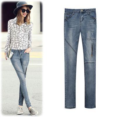 Pantalon Jeans pour Femme Coupe Slim avec Poche Cuisse Zippée