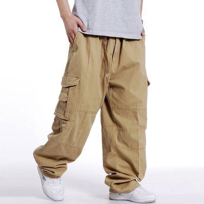 Pantalon large en coton pour homme avec multi-poches
