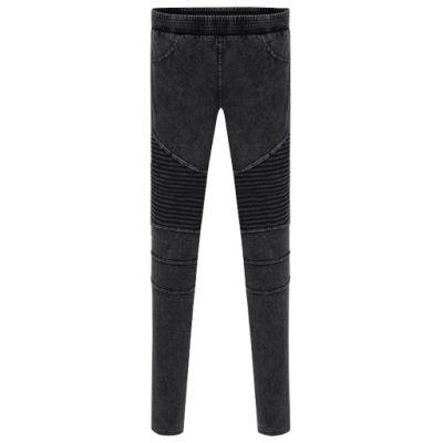 Pantalon legging en jeans pour femme avec empiècements côtelés
