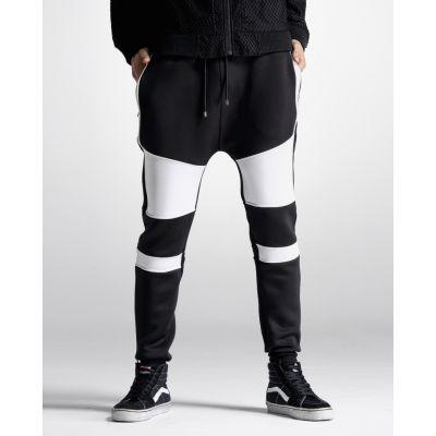 Pantalon Sarouel Bicolore Noir et Blanc Homme Drop Crotch