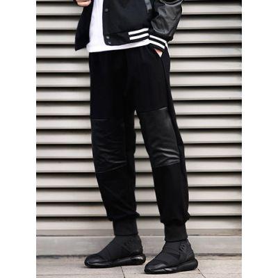 Pantalon Sarouel Homme Empiècement Genou Cuir Noir