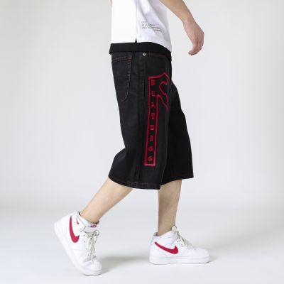 Pantalon en denim hip hop pour hommes imprimé caractère