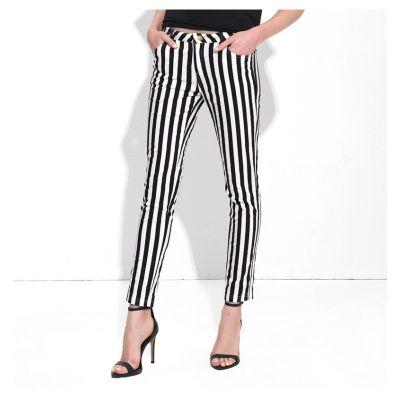 Pantalon Slim Rayures Noires et Blanches pour Femme