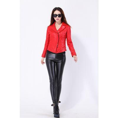 Pantalon Slim Simili Cuir pour Femme avec taille élastique stretch