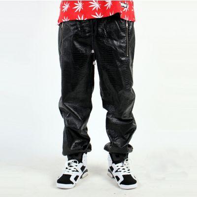 Pantalon Survet en Cuir PU Jogging Simili Cuir Croco