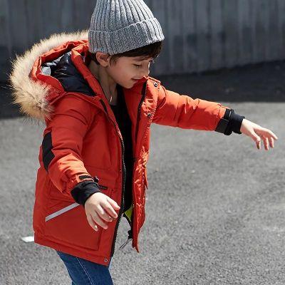 Parka avec capuche fourrure pour garçon enfant avec poche fermeture éclaire