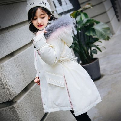 Parka pour fille avec capuche bordée fourrure et cordon ceinture