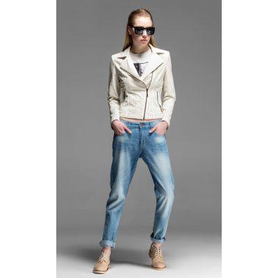 Blouson Perfecto Cuir Femme avec Perforations Fantaisie - Blanc