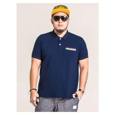 Polo uni pour homme avec poche poitrine et bordure couleur grande taille