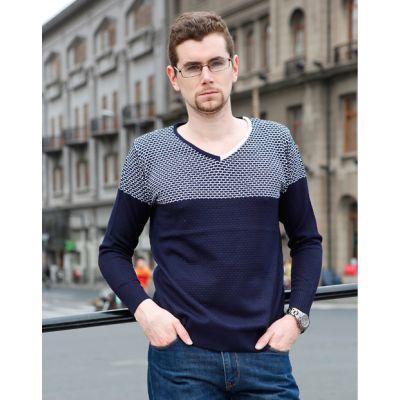Pullover Homme avec Col V et Epaules et Col à Motif Blanc