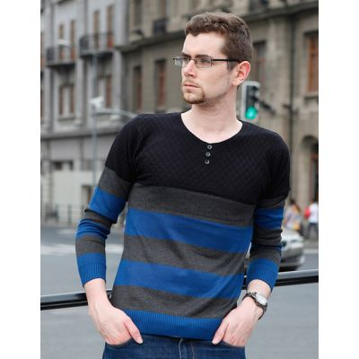 Pull fin pour Homme avec Rayures et Boutons Col