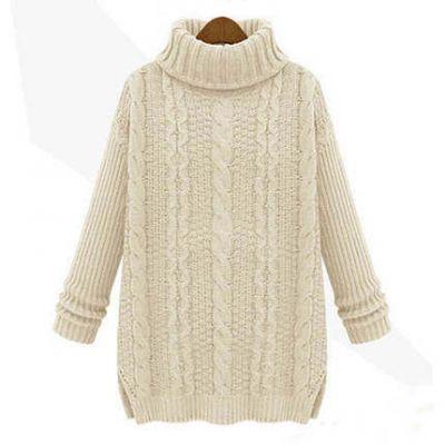 Pull Torsades Oversize pour Femme Knitwear Hiver avec Col Roulé
