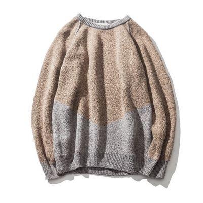 Pull tricot pour homme avec blocs couleurs col rond
