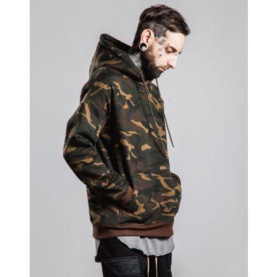 Pullover à capuche camouflage vert militaire pour homme