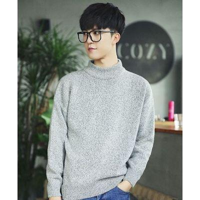 Pullover à petit col roulé pour homme tricot fin knitwear