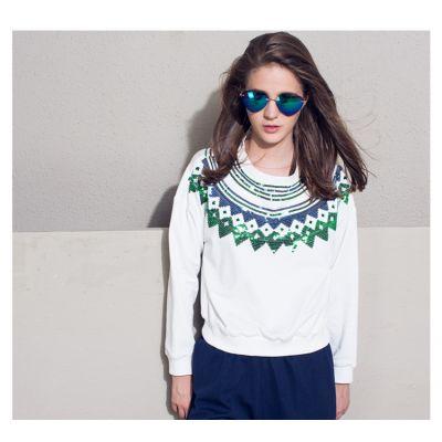 Pullover à Sequins pour Femme Motif Col Brillant Vert et Blanc