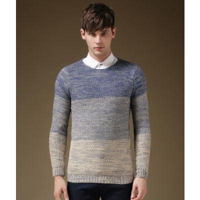 Pullover col rond pour homme avec motif tricoté dégradé couleurs